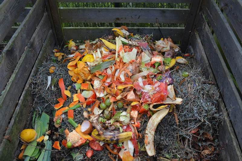 organic compost pile with greens and browns